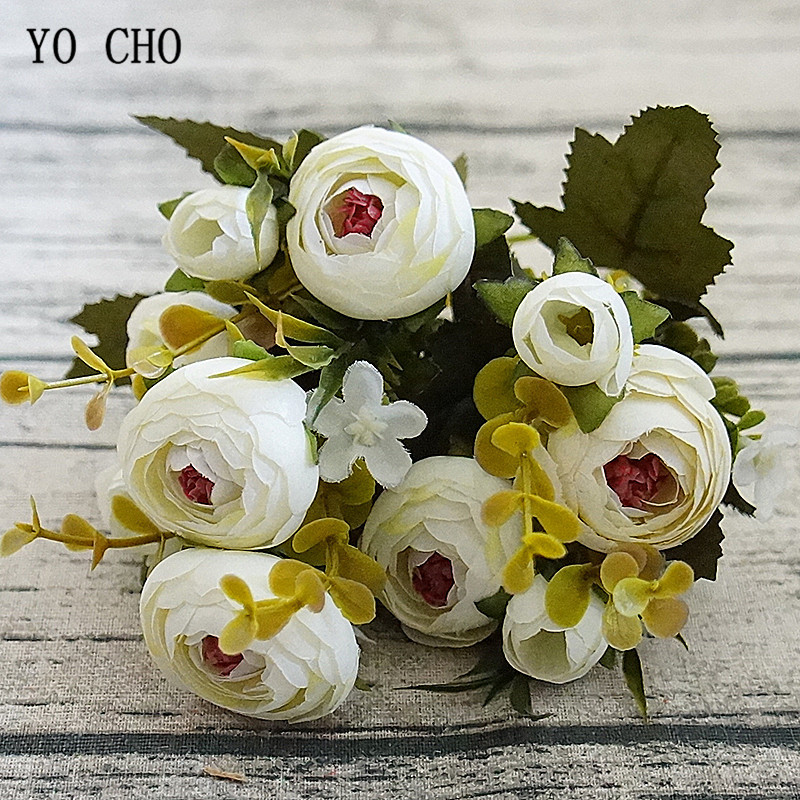 YO CHO Mini Bouquet Artificial Flower 5 Fork Silk Rose Wedding Girl Holding Flower Fake Rose Pink Home Party Wedding Table Decor