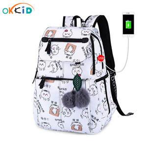 OKKID School-Bags Backpacks Girls Children Cute for Female Laptop Usb Cat
