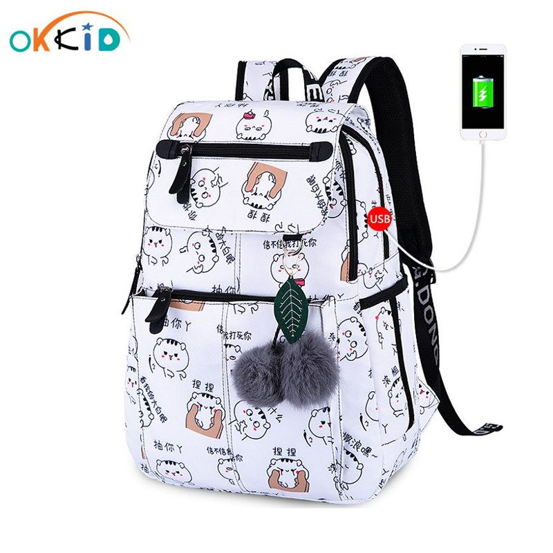 OKKID school bags for girls female laptop backpack usb backbag children backpacks cute cat school backpack for girls bag pack