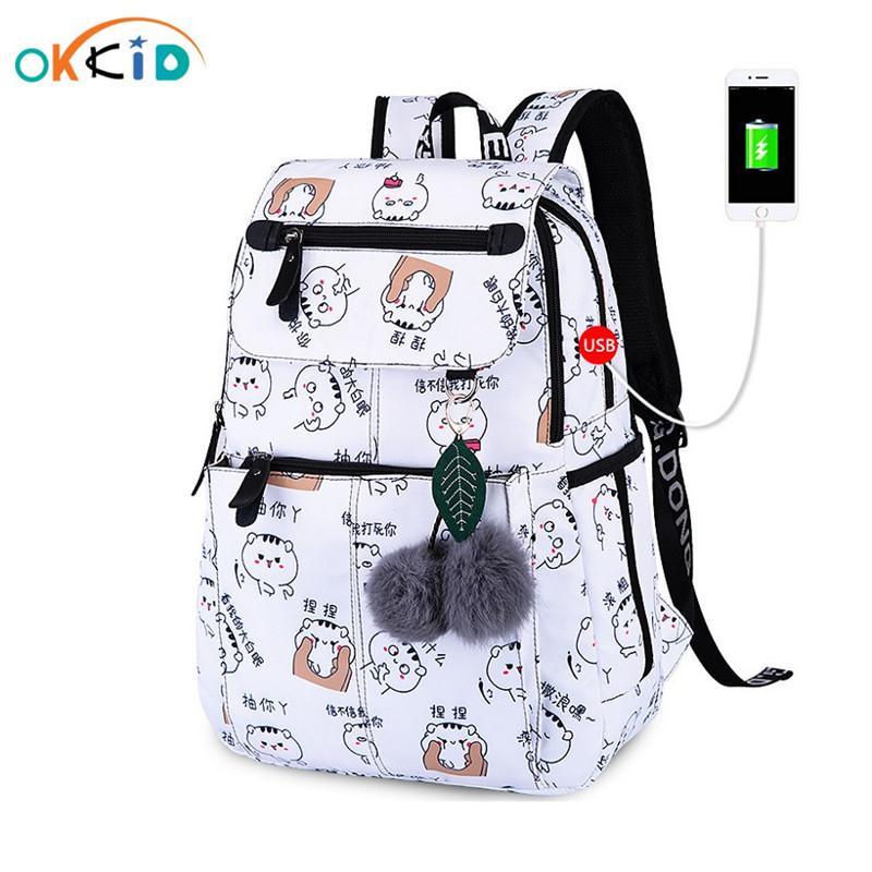 OKKID school bags for girls female laptop backpack usb backbag children backpacks cute cat school backpack for girls bag pack
