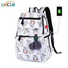 OKKID الحقائب المدرسية للفتيات الإناث محمول على ظهره usb backbag الأطفال حقائب الظهر لطيف القط حقيبة المدرسة للفتيات حقيبة حزمة