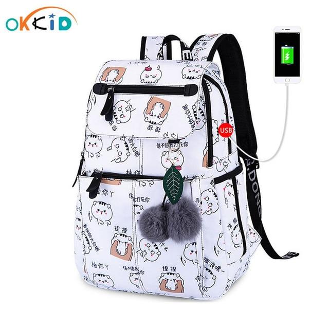 Школьные ранцы OKKID для девочек, женский рюкзак для ноутбука с usb разъемом, Детские рюкзаки, школьный ранец с милым котом для девочек