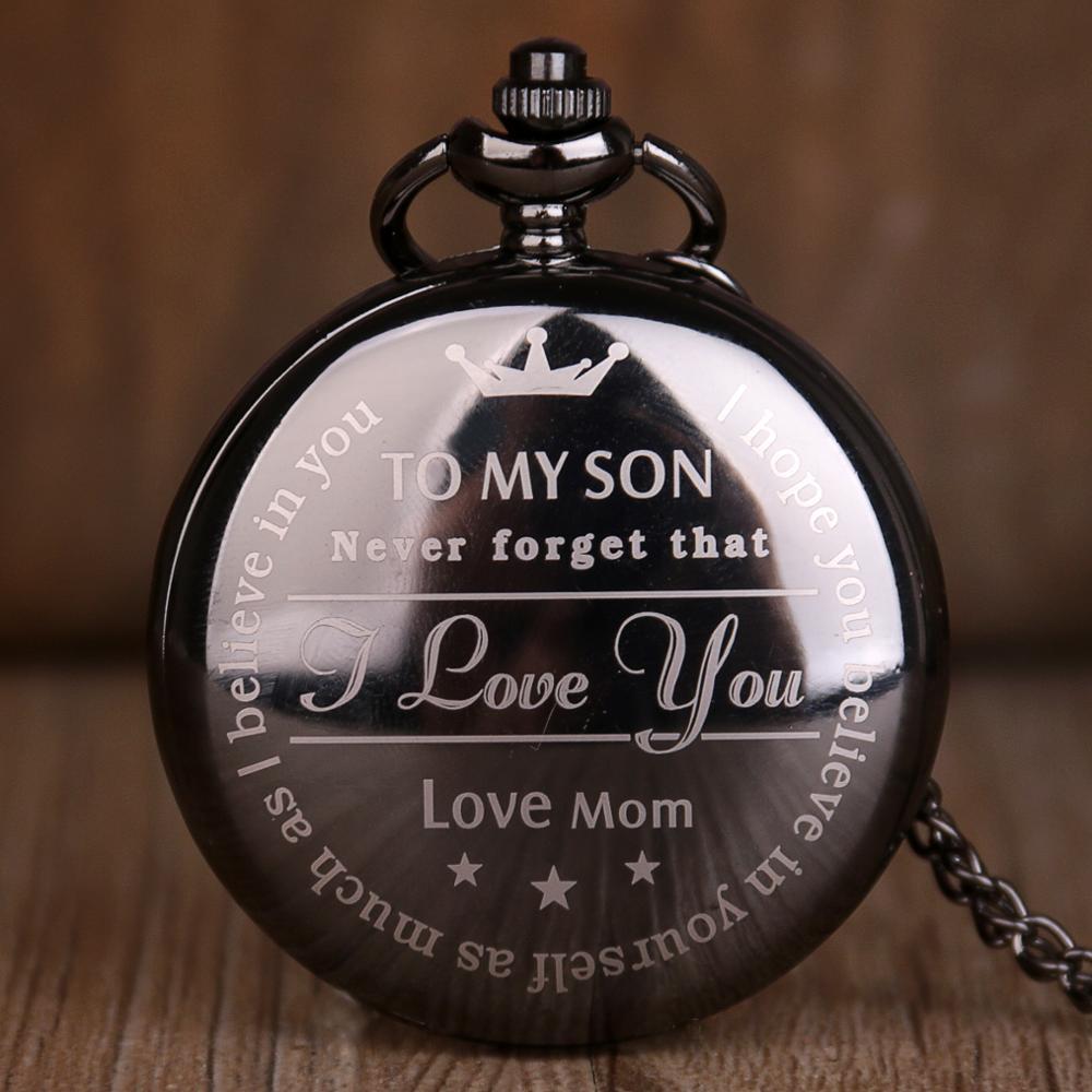 Black To My Son Quartz Pocket Watch Vintage Roman Numeral Display Pendant Clock Birthday Gifts For Boys