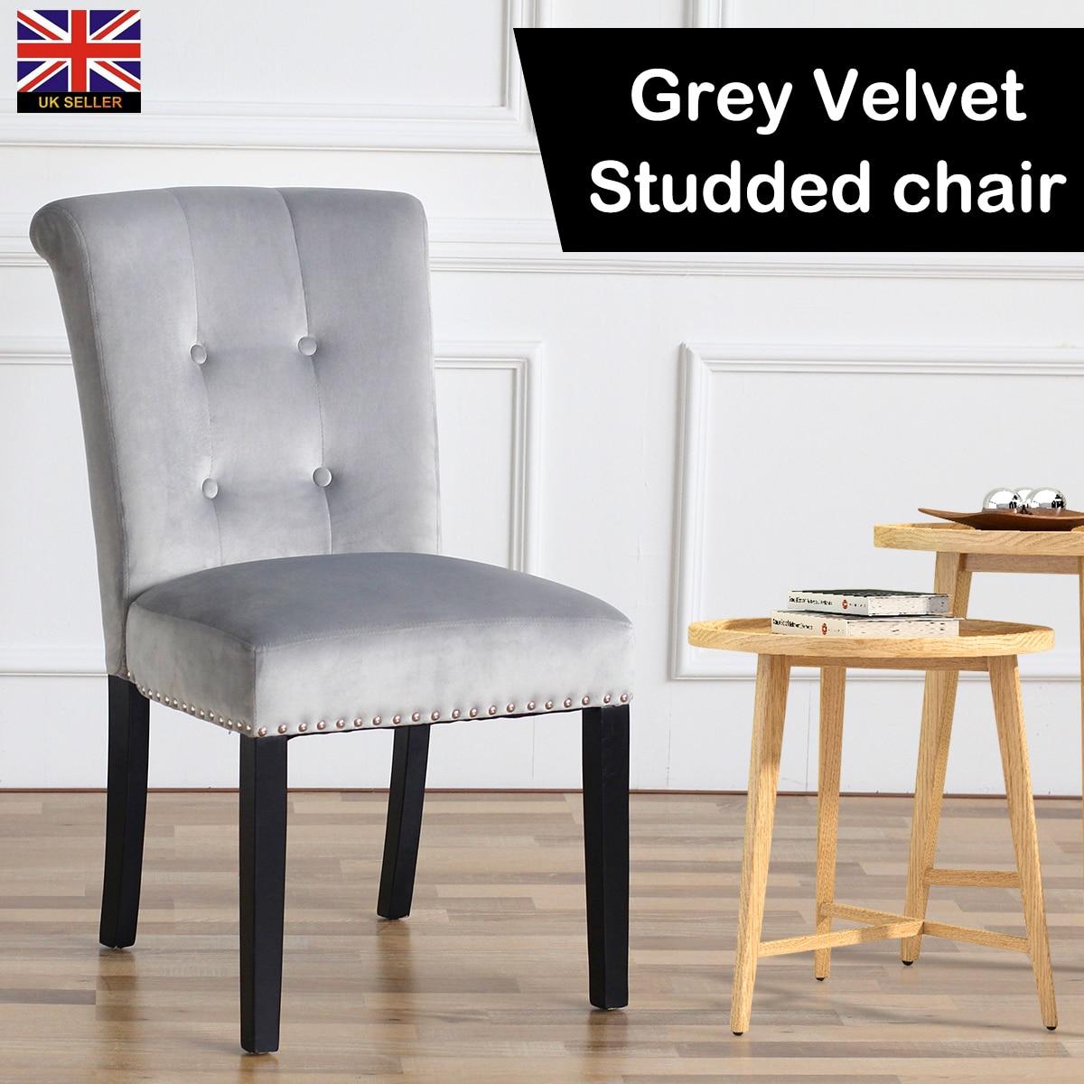 Luxe gris velours chaise moderne salle à manger chaise meubles maison commode mariage fête dîner chaises 86cm x 50cm x 48cm