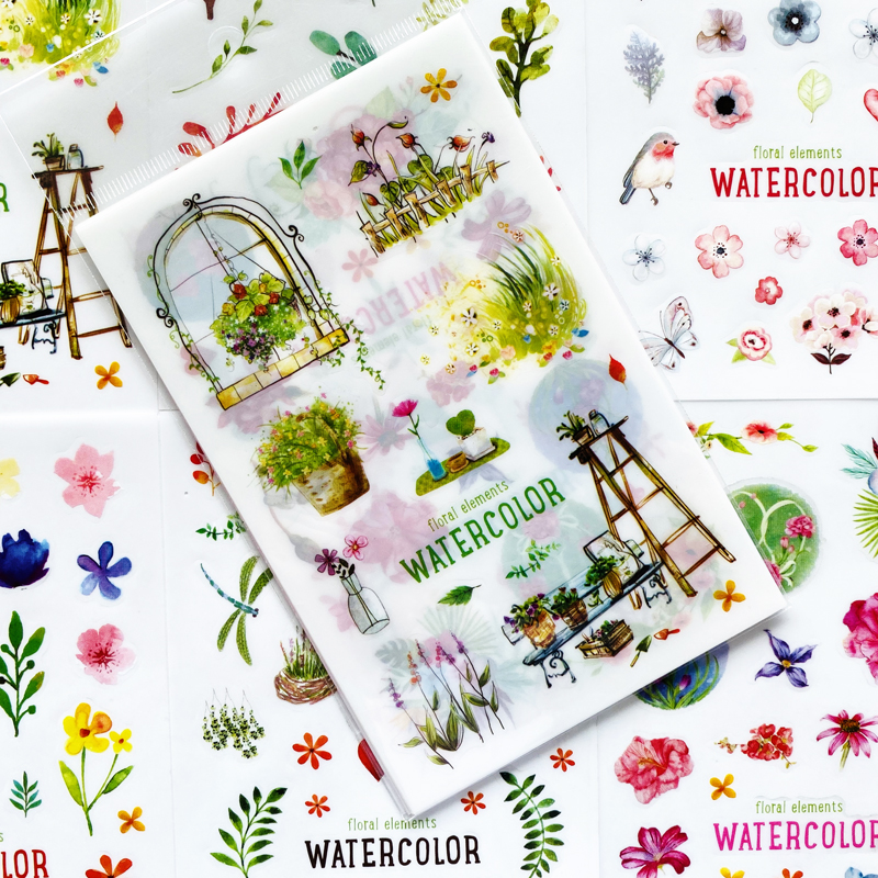 6 Sheets Cute Watercolor Green Plants PVC Adhesive Stickers Decorative Album Diary Stick Label Hand Account Decor Kids Gift