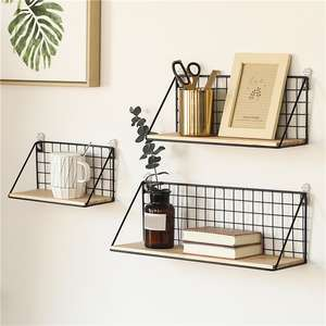 Wooden Iron Wall Shelf Wall Mounted Storage Rack Organization For Kitchen Bedroom Home