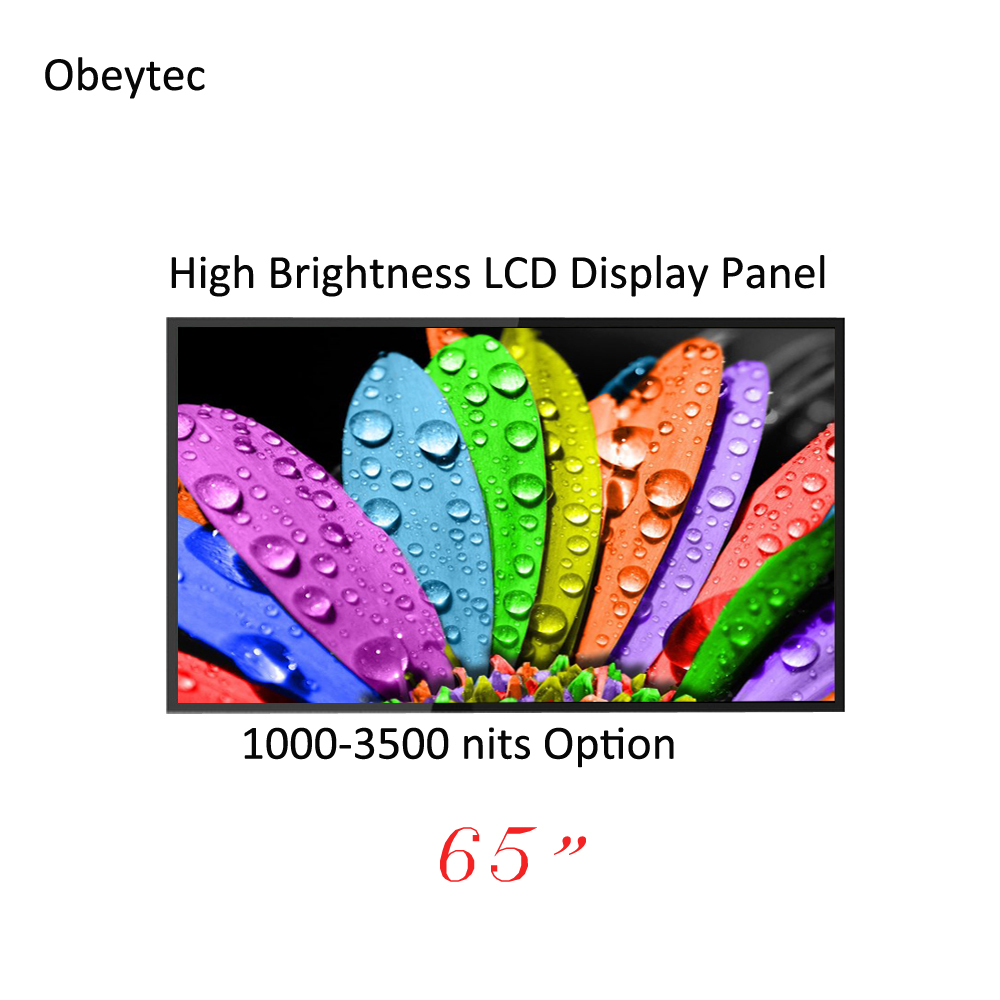 Cost effective! 65 <font><b>inch</b></font> 1500cd/m2/nits FHD <font><b>LCD</b></font> <font><b>display</b></font> panel, wide view, for outdoor, wall mounted, high brightness image