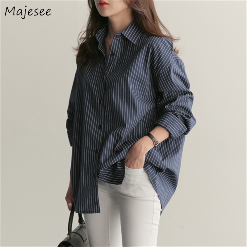 Shirts Women Blue Striped Elegant Office Lady High Quality Casual Daily Womens Shirt All-match Mid-long Ulzzang Korean Style New