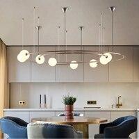 Скандинавские металлические светодиодные люстры стеклянный шар Ресторан Потолочный подвесной светильник гостиничный зал Кофейня подвесн