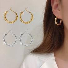 Feminino círculo geométrico hoop brincos acessórios jóias vintage metal cross-woven twist brincos festa presente