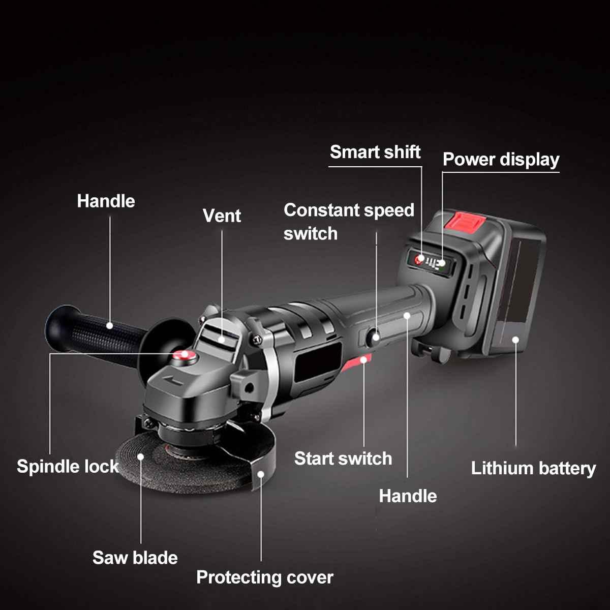 18V szlifierka kątowa szlifierka elektryczna szlifierka moc narzędzie do szlifowania cięcia szlifowania metalu 68000MAH 2x baterie