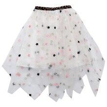 3-14Y Kids Girls Long Tulle Tutu Skirt Summer New Stars Sequin Embroidery Mesh Pettiskirt Fashion Pleated Irregular Fluffy Skirt dragonfly embroidery sequin skirt