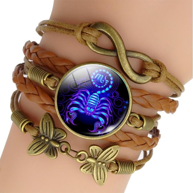 12 Zodiac Sign Woven Leather Bracelet Aquarius Pisces Aries Taurus Constellation Jewelry Birthday Gift