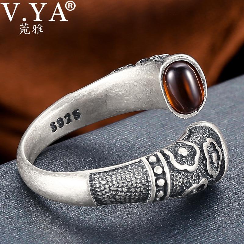 V.YA Retro Red Garnet Rings 925 Sterling Silver Ring for Women Female Natural Semi precious Stone Jewelry Birthday GiftRings   -