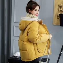 Standı yaka 2019 yeni moda kış ceket kadınlar pamuk yastıklı dış giyim kapüşonlu 7 renk kadın kısa ceket katı Parka