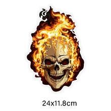 Adesivos de carro decoração da motocicleta decalques crânio fogo acessórios decorativos coloridos protetor solar criativo pvc à prova d24 água, 24cm * 12cm