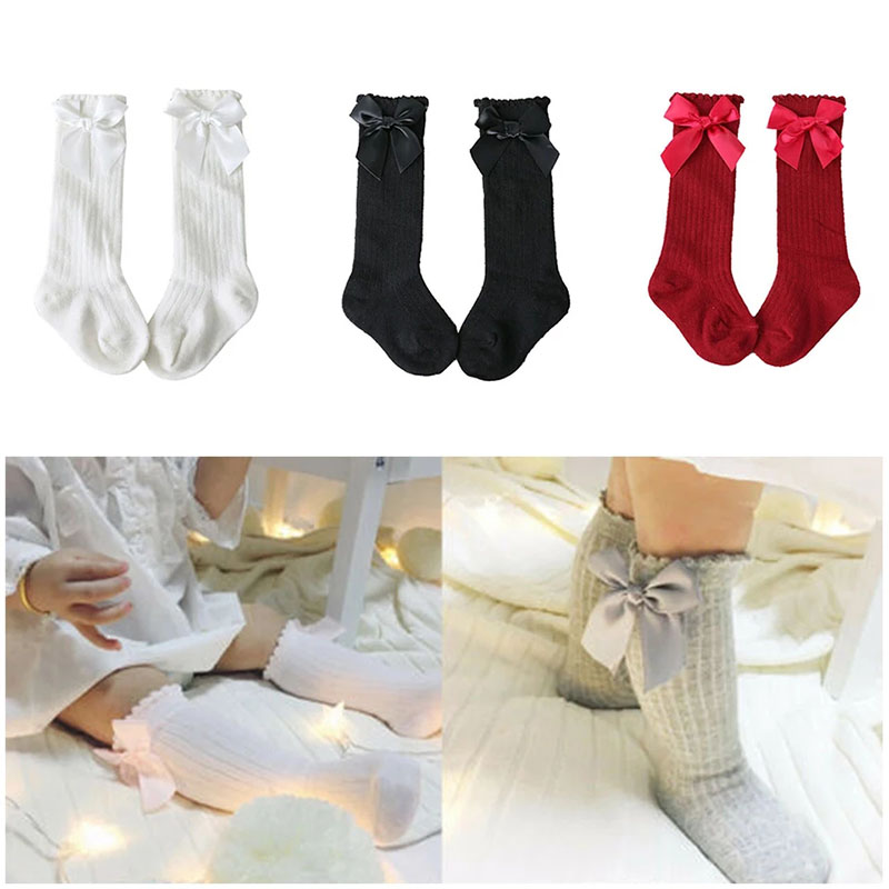 New Solid Color Kids Socks Toddlers Baby Girls Shoes Sweet Big Bow Knee Long Soft Cotton Baby Socks Kids Shoes Children Socks