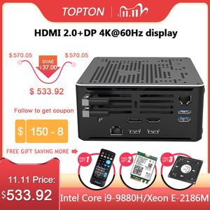 Image 1 - 2 Lans جهاز كمبيوتر صغير إنتل كور i9 9880H 8 النوى 16 المواضيع الألعاب كمبيوتر مكتبي 2 * DDR4 2 * M.2 NVMe Win10 برو 4K HTPC HDMI DP نوع C