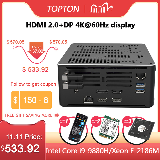 2 Lans جهاز كمبيوتر صغير إنتل كور i9 9880H 8 النوى 16 المواضيع الألعاب كمبيوتر مكتبي 2 * DDR4 2 * M.2 NVMe Win10 برو 4K HTPC HDMI DP نوع C