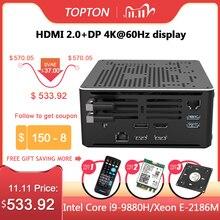 2 רשתות lan מיני מחשב Intel Core i9 9880H 8 ליבות 16 אשכולות משחקי מחשב שולחני 2 * DDR4 2 * M.2 NVMe Win10 פרו 4K HTPC HDMI DP סוג C