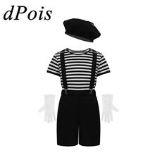 DPOIS Mime Cosplay Kostuum Halloween Kinderen Kunstenaar Set Mimespeler Ezels Pantomime Unisex Jongens Meisjes Role-playing Games Pak(China)