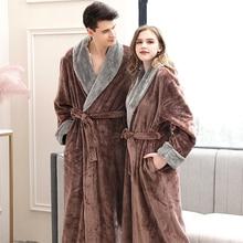 여성 겨울 플러스 사이즈 긴 플란넬 목욕 가운 기모노 따뜻한 핑크 목욕 가운 밤 모피 가운 들러리 드레스 가운 남성 잠옷