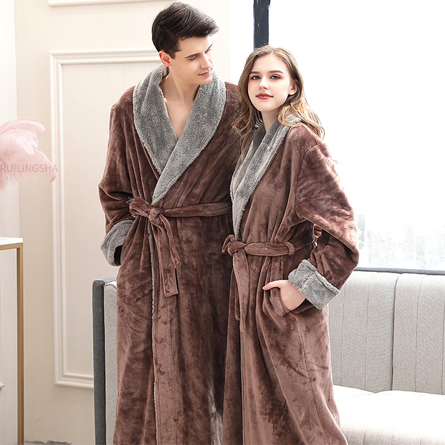 Women Winter Plus Size Long Flannel Bathrobe Kimono Warm Pink Bath Robe Night Fur Robes Bridesmaid Dressing Gown Men Sleepwear