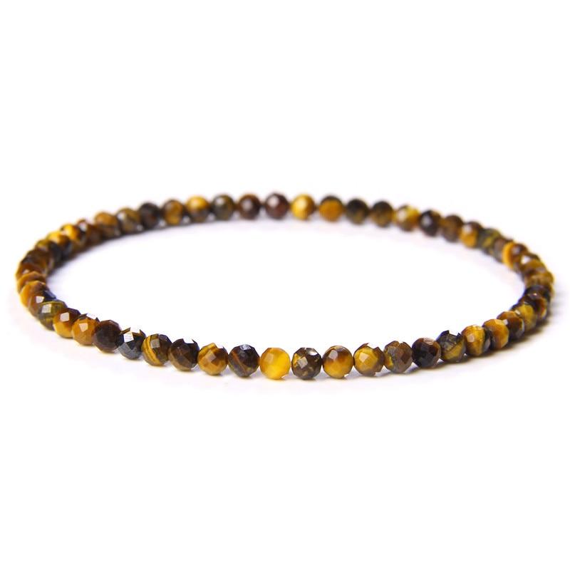 Natural Stone Handmade Stretch Bracelet 4mm Small Faceted Tiger Eye Quartz Crystal Beads Bracelet