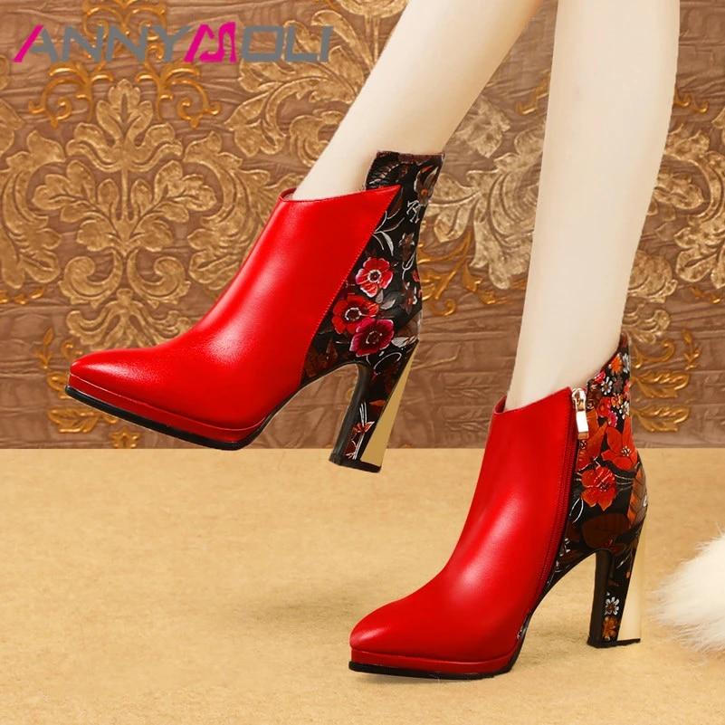 Women Winter Genuine Leather Flower Ankle Boots Zipper Low Block Chunky Heels