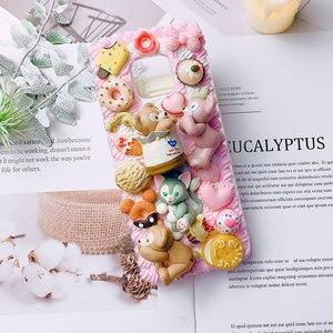 3D чехол DIY для samsung Note 10 Galaxy s10plus s6/s7/s8/9 + чехол для телефона ручной работы кремовая оболочка note8/9 милый медведь розовый подарок для девочки