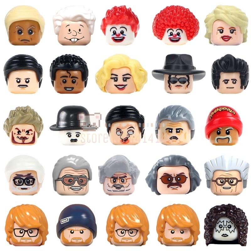 Серия знаменитых людей Майкл Джексон Эд шеран Чаплин Фредди ртутные игрушки для детей MOC Heads строительные блоки кубики подарки