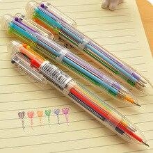Neue Ankunft Neuheit Multicolor Kugelschreiber Multifunktions 6 In1 Bunte Schreibwaren Kreative Schule Liefert