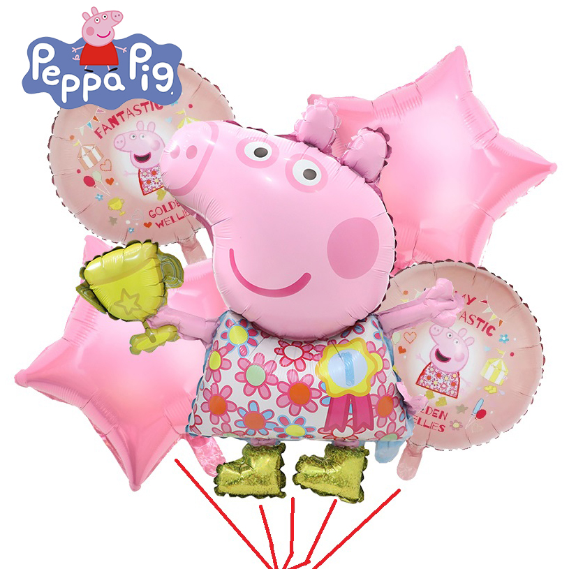 PEPPA PIG 6Pcs/set Foil Balloons Birthday Gift Birthday Party Decorations Peppa Pig Cartoon Balloons Toys For Children
