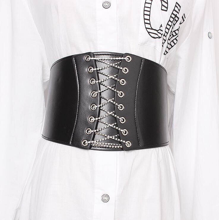 Women's Runway Fashion Elastic Pu Leather Bandage Cummerbunds Female Dress Corsets Waistband Belts Decoration Wide Belt R1914