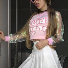 2018 jesień kwas cukier kobieta nowy ładny krótki laser przezroczysty Harajuku list krótka koszula szwy z długim rękawem zabawa T-shirt