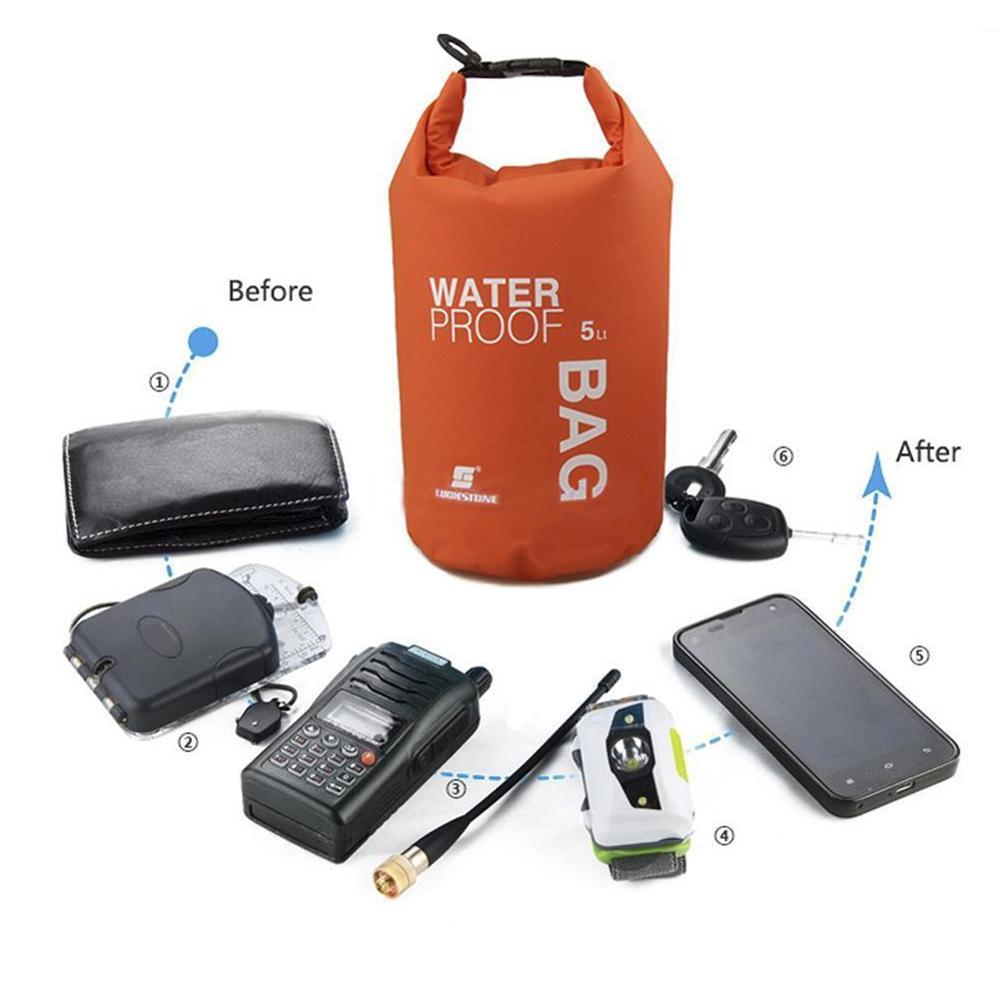 2/5L Folding Waterproof Swimming Storage Bag River Hiking Dry Bag Sandbag For Boating Rafting Kayak Camping Fishing Sport