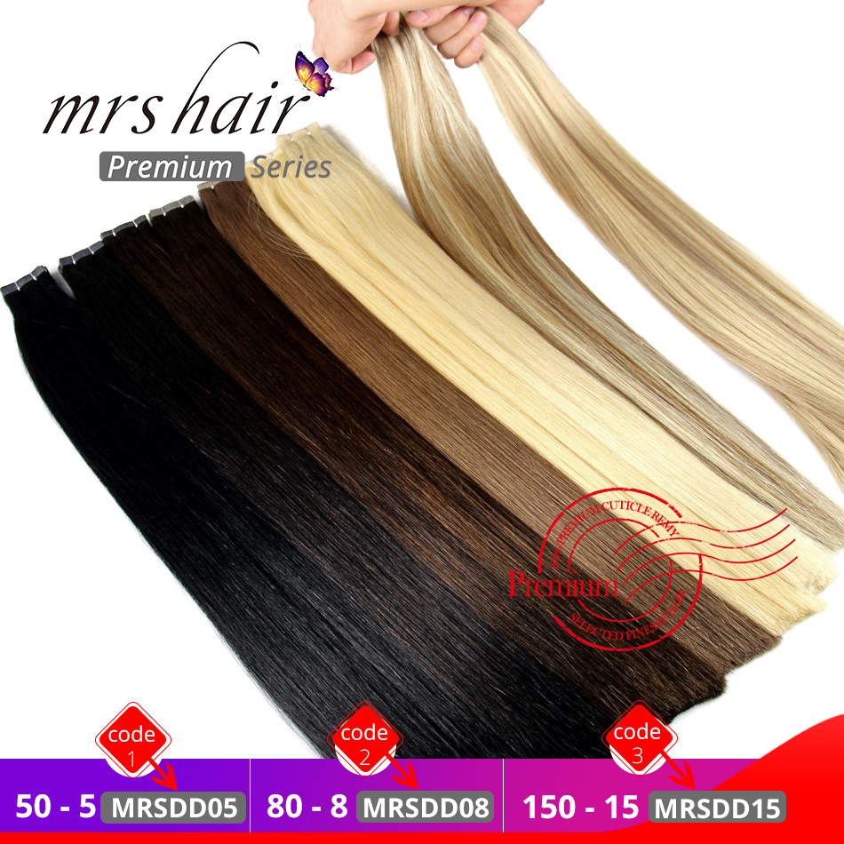 MRSHAIR Double Drawn Tape In Hair Extensions Thick Remy Human Hair Straight Wefted On Adhesives Seamless Hair Blonde 16