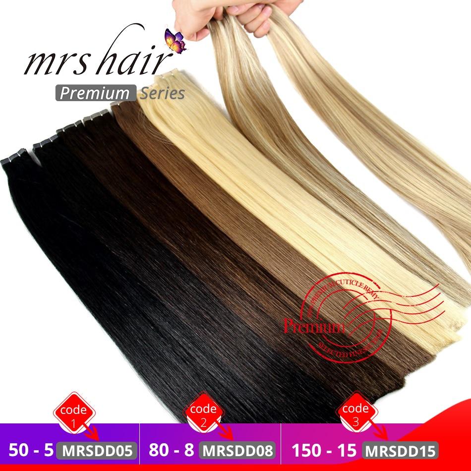 MRSHAIR, двойные волосы для наращивания на ленте, толстые Человеческие волосы Remy, прямые волосы на клейкой ленте, бесшовные волосы блонд 16