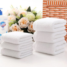 10 pçs/lote boa qualidade branco barato rosto toalha pequeno toalhas de mão toalha de cozinha hotel restaurante jardim infância algodão toalha