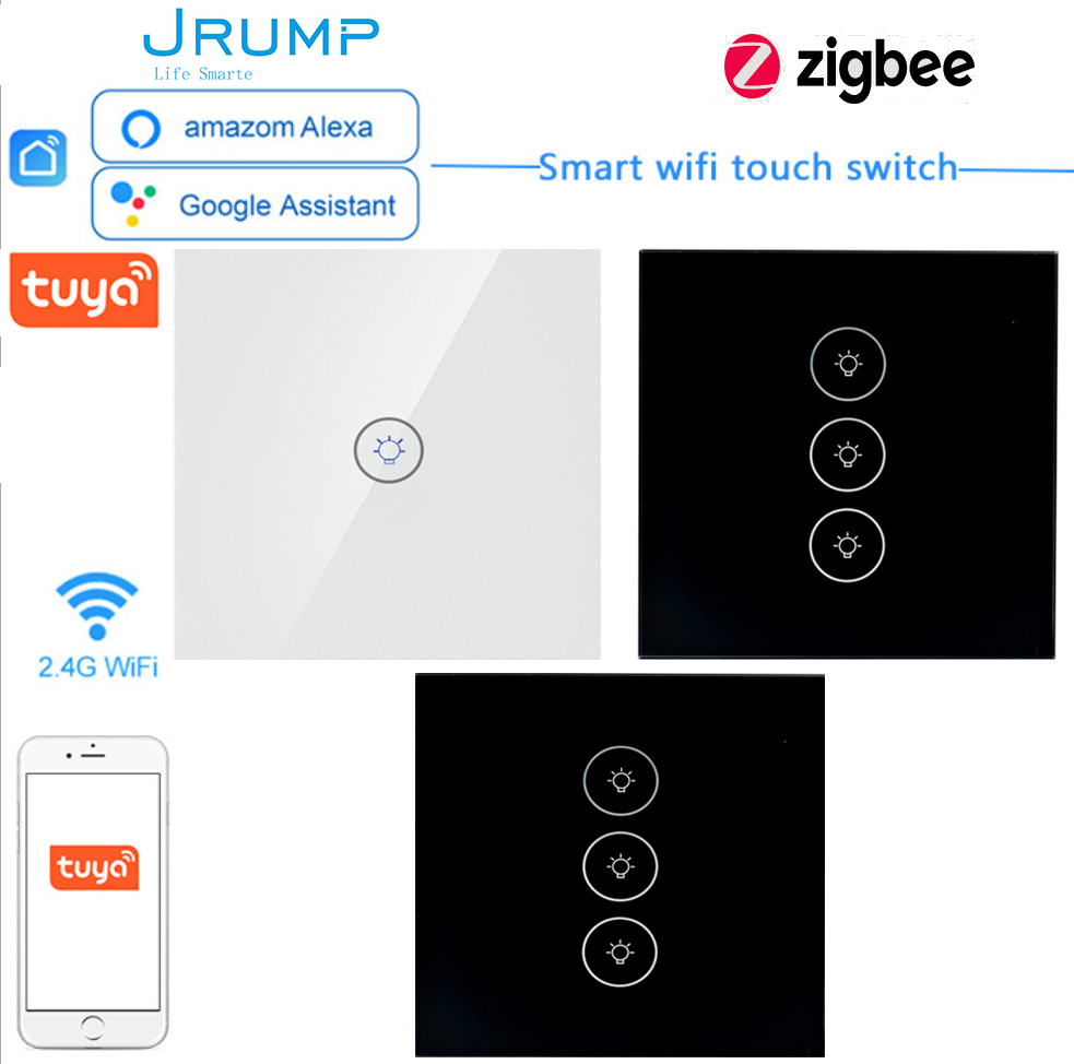 UK/EU Zigbee Smart Touch Switches Wall Switches WIFI Interruptore Switches Work Alexa Google Home Luxury Tempered Glass Panel