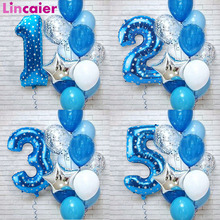 Latex Balloons Foil Birthday-Party-Decoration Blue-Number Prince 1st Birthday Baby-Boy
