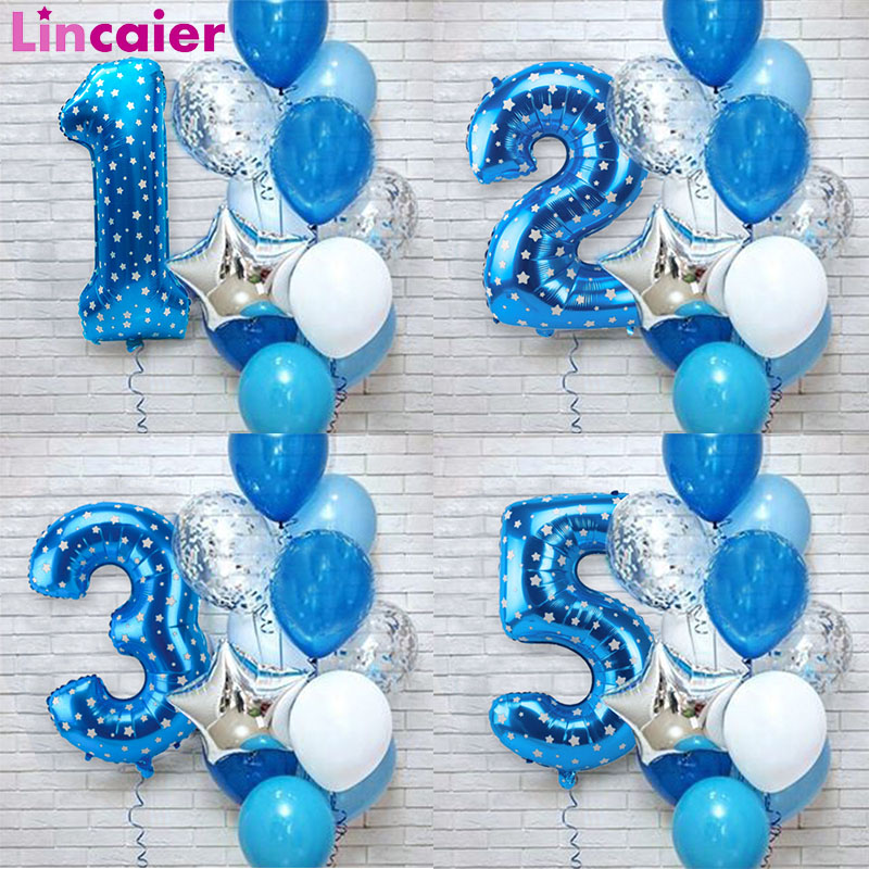 12pcs Number Foil Balloons Birthday Party Decoration Kids Baby Boy Prince 1 <font><b>2</b></font> <font><b>3</b></font> 4 <font><b>5</b></font> <font><b>6</b></font> 7 8 9 Years Old 1st Birthday Latex Balloon image