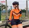 Cafete novo terno de ciclismo triathlon profissional das mulheres corrida equipe jérsei macacão manga longa apertado ciclismo terno 7