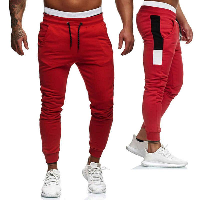 ผู้ชาย 2019 แฟชั่น Sporty กางเกงฤดูร้อนฤดูใบไม้ร่วง Chic อินเทรนด์ชาย Hip Hop ดินสอสีบล็อกพิมพ์กางเกง cool Guys