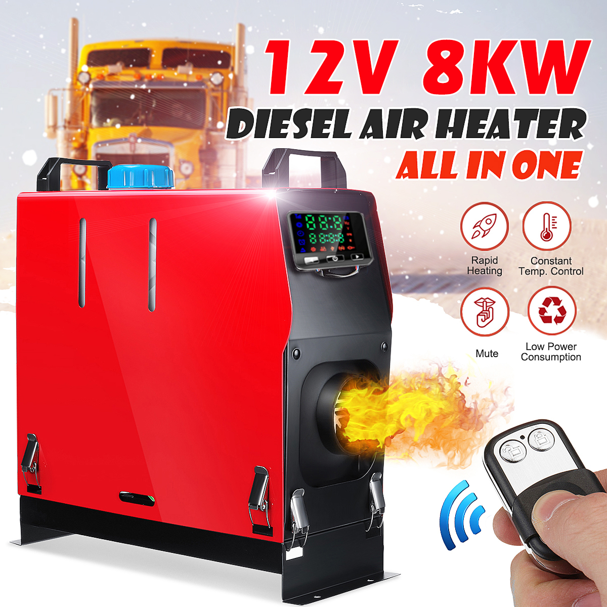 Hcalory Car Heater All In One 1-8kW Air Diesels Heater Red 8KW 12V One Hole For Webasto Trucks Motor-Homes Boats Bus+LCD Switch