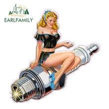 Earlfamily 13cm x 13cm faísca plug pin up decalque sexy dos desenhos animados gráficos engraçado adesivos de carro da motocicleta decalque do carro acessórios