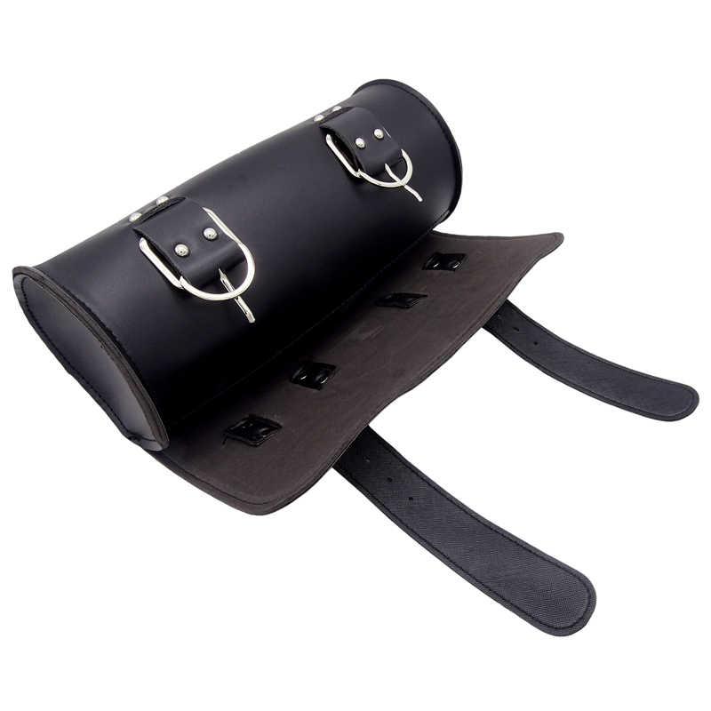 Motorrad PU Leder Vintage Vorderen Toolkit Tasche Sattel Runde Barrel Sattel Werkzeug Tasche Für Harley Honda Suzuki