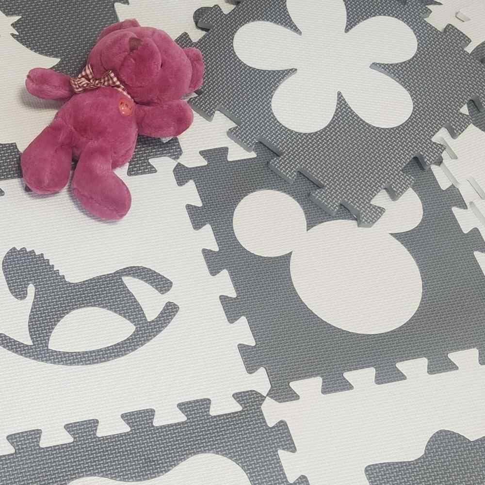 Meitoku EVA çocuk yumuşak emekleme kilim, bebek oyun Mickey köpük bulmaca matı gri beyaz ped zemin çocuk oyunları için her: 32x32cm