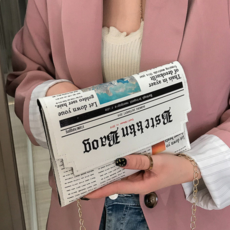 Hot Sale Newspaper Envelope Shoulder Bag PU  Women's Bag Fashion Hand-held Horizontal Clutch Bag 2019 Crossbody Bags For Women