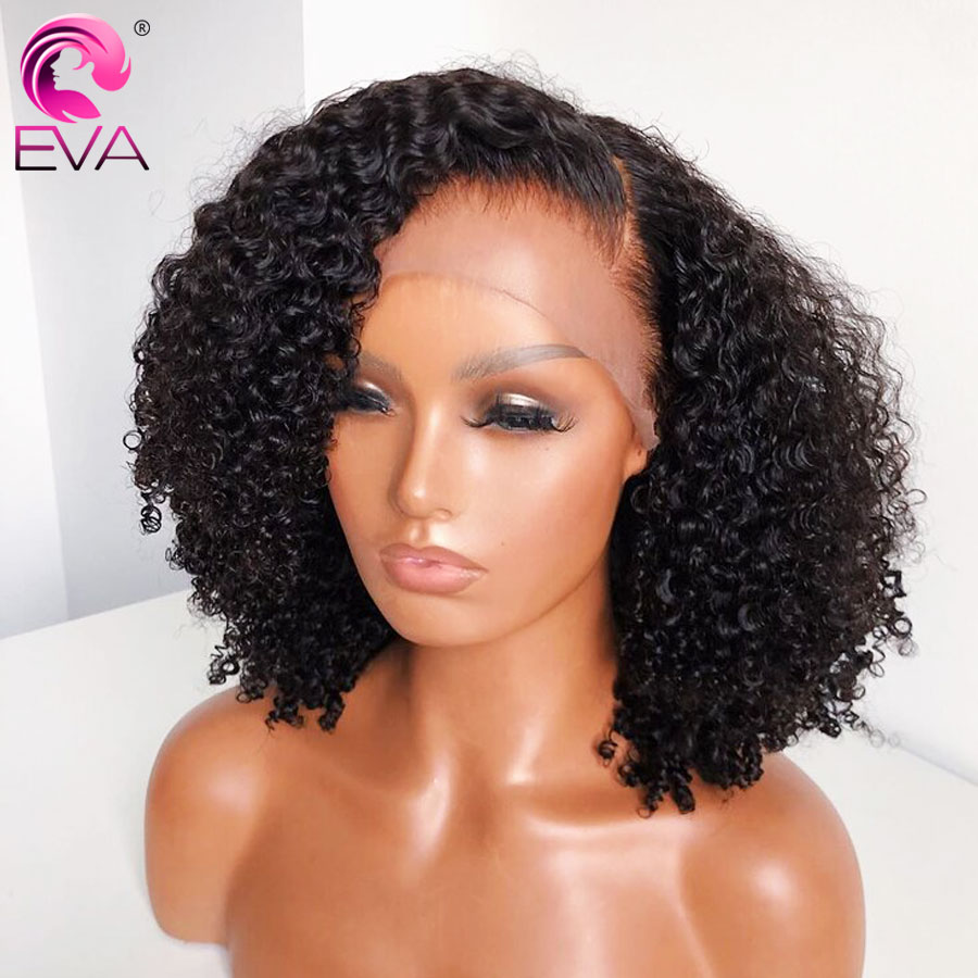 Eva Short Curly Human Hair Wigs For Black Women 13x6 Bob Lace Front Human Hair Wigs Pre Plucked Brazilian Lace Frontal Wigs Full